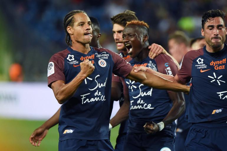 L'équipe de Montpellier lors du match de Ligue 1 l'opposant à Strasbourg, le 19 août 2017