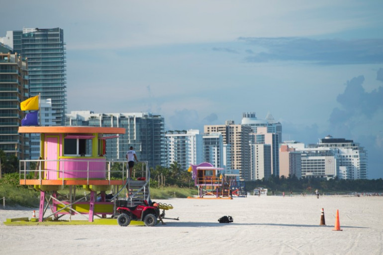 Miami Beach désert le 7 septembre, avant l'arrivée de l'ouragan Irma en Floride.
