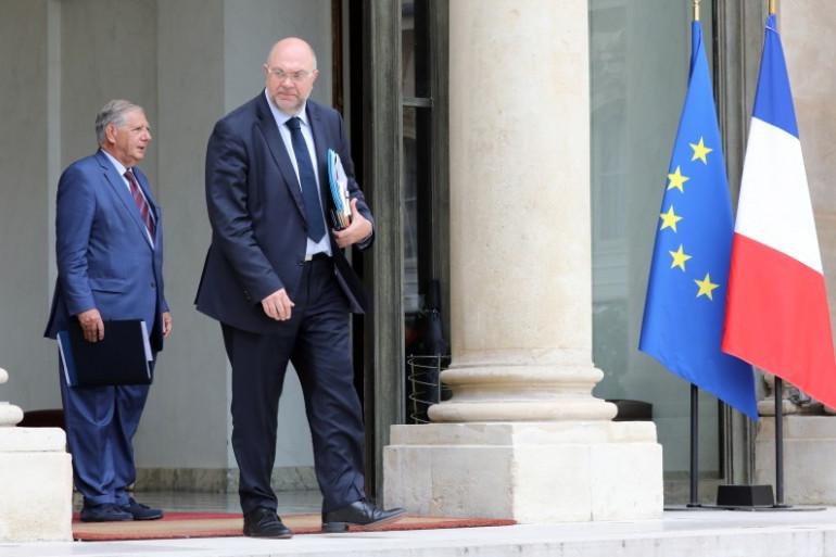 Stéphane Travert, ministre de l'Agriculture sur le perron de l'Élysée, le 6 septembre 2017.