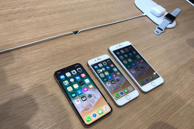 Les trois iPhone (X, 8 et 8 Plus) présentés à la keynote du 12 septembre 2017.