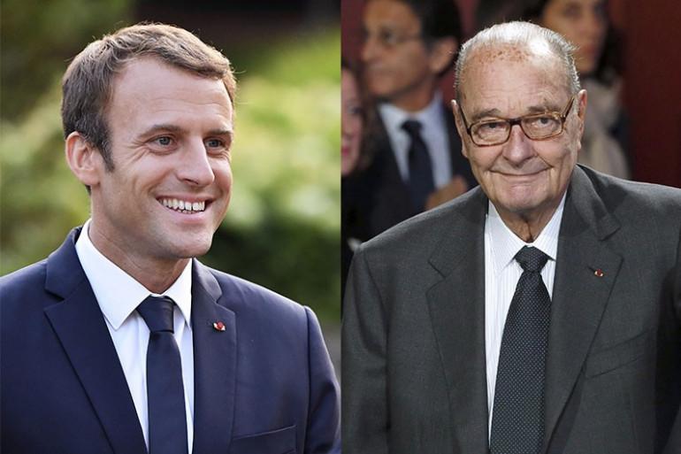 Emmanuel Macron et Jacques Chirac