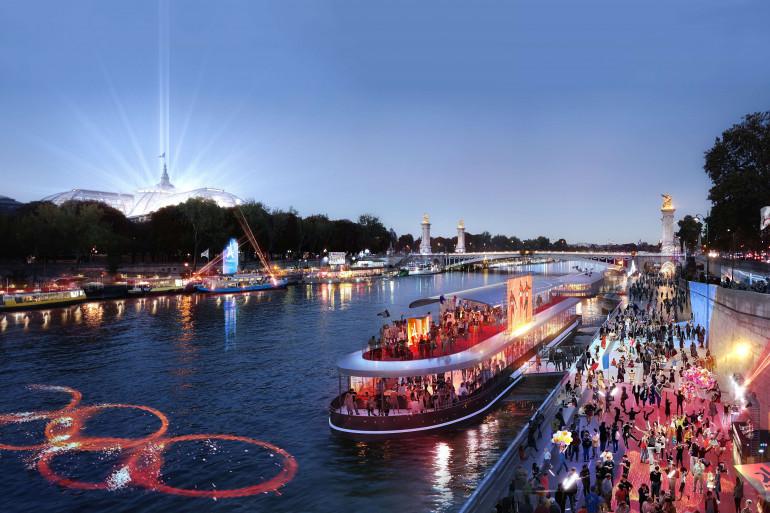 Image de synthèse de la Seine durant les JO 2024 à Paris