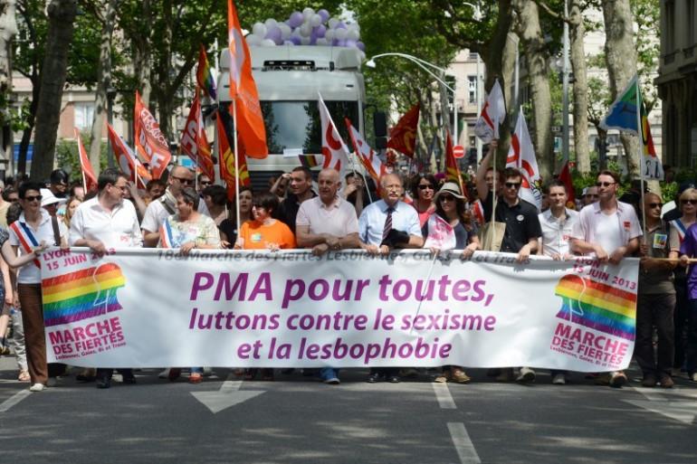 Manifestation en faveur de la PMA pour toutes les femmes, le 15 juin 2013 à Lyon