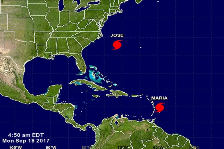 Positionnement des ouragans Maria et José le 19 septembre 2017.