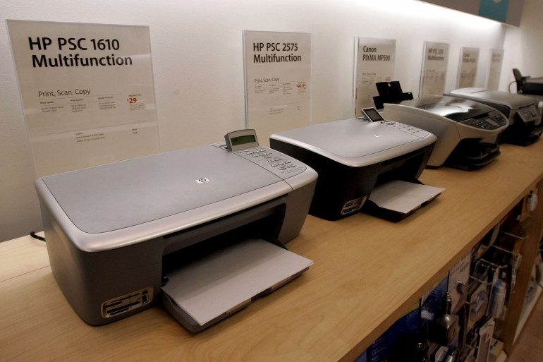 Des imprimantes HP, Canon et Epson, à Palo Alto (Californie) le 17 novembre 2005