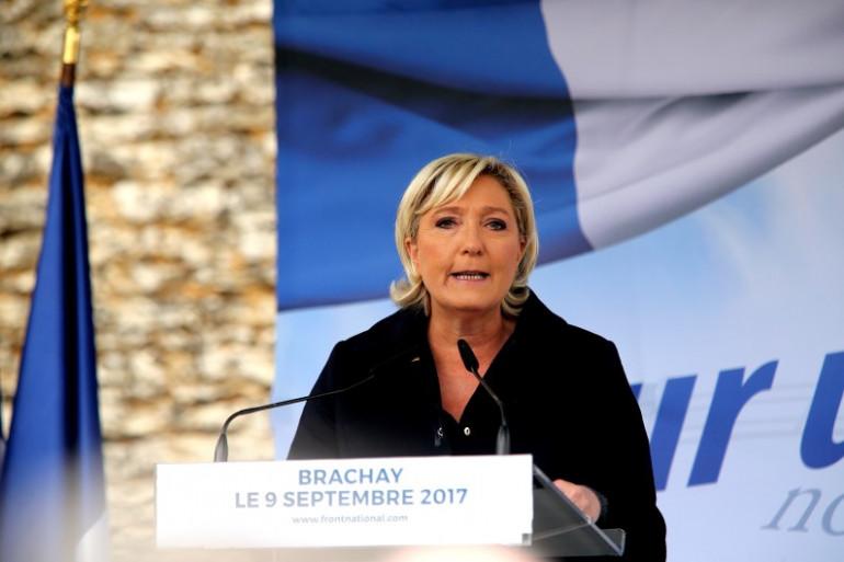Marine Le Pen, la présidente du FN, le 9 septembre 2017 à Brachay