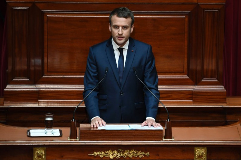 Emmanuel Macron devant le Congrès réuni à Versailles, le 3 juillet 2017