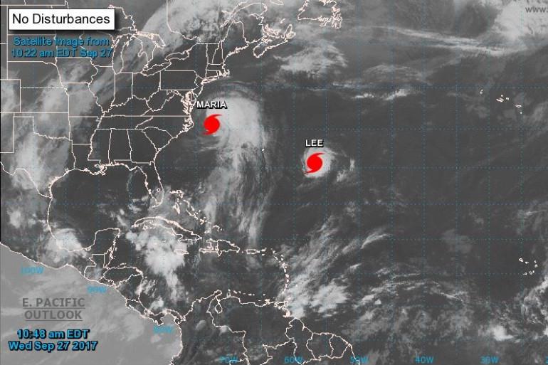 Évolution du reste des ouragans Maria et Lee le 27 septembre.