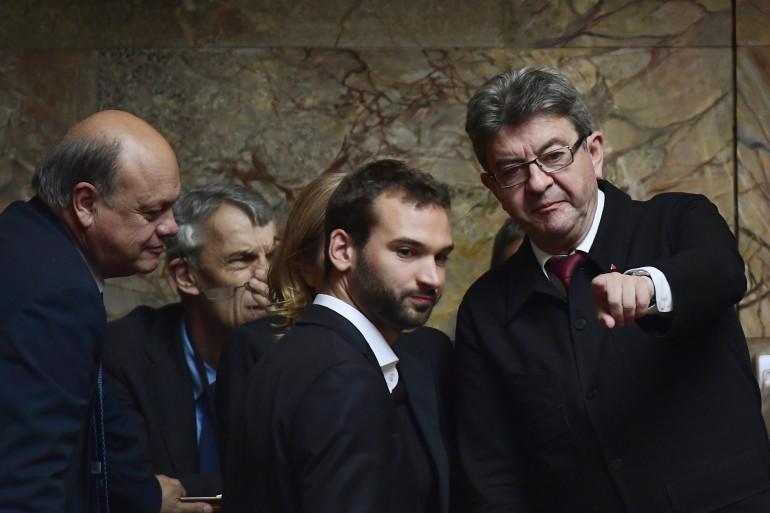 Les députés FI Ugo Bernalicis et Jean-Luc Mélenchon à l'Assemblée nationale