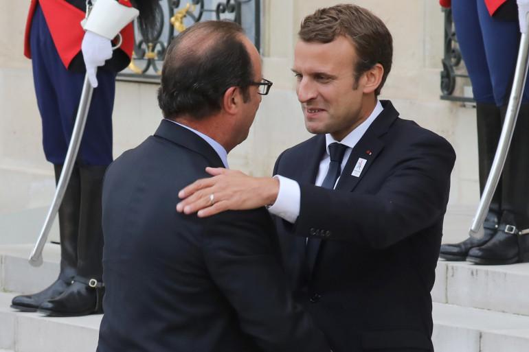 François Hollande et Emmanuel Macron à l'Élysée, le 15 septembre 2017