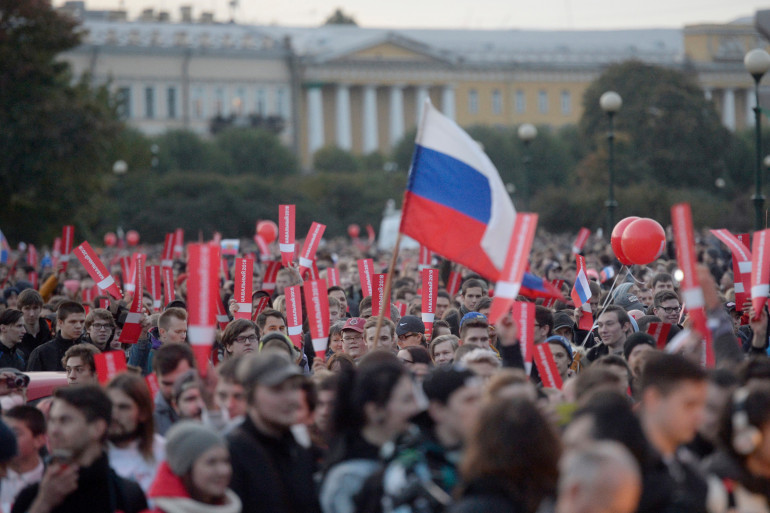 Une manifestation en Saint-Pétersbourg (Russie) de partisans d'Alexei Navalny