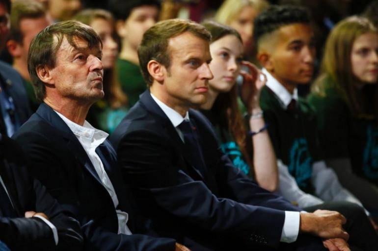 Nicolas Hulot et Emmanuel Macron, le 11 octobre 2017 à Paris