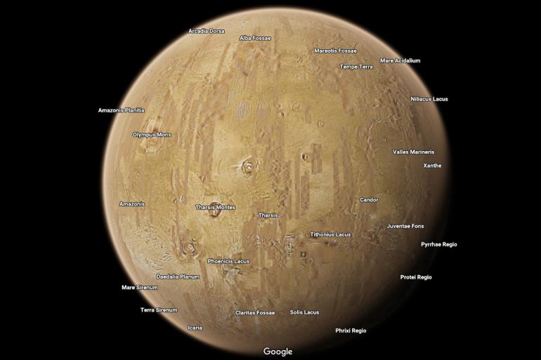 La planète Mars, vue depuis Google Maps