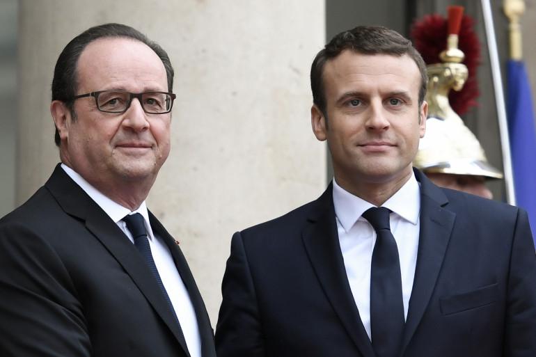 François Hollande et Emmanuel Macron, le 14 mai 2017 à l'Élysée