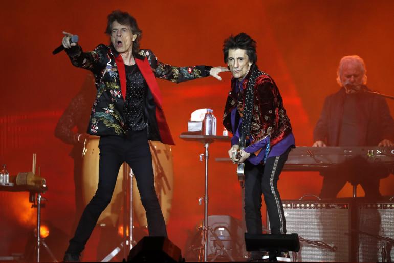 Le chanteur des Rolling Stones Mick Jagger et Ron Wood à l'U Arena Hall de Nanterre le 19 octobre 2017.