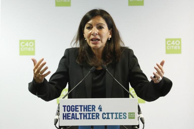 Anne Hidalgo lors du sommet du C40 à Paris le 23 octobre 2017