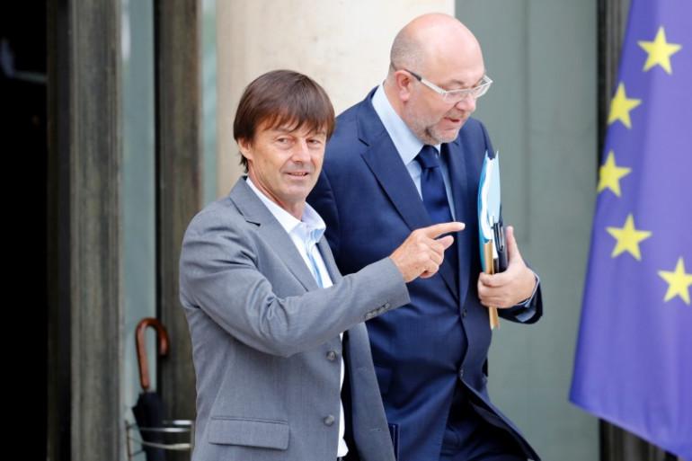 Nicolas Hulot et Stéphane Travert, le 28 juin 2017 à la sortie du Conseil des ministres le 28 juin 2017