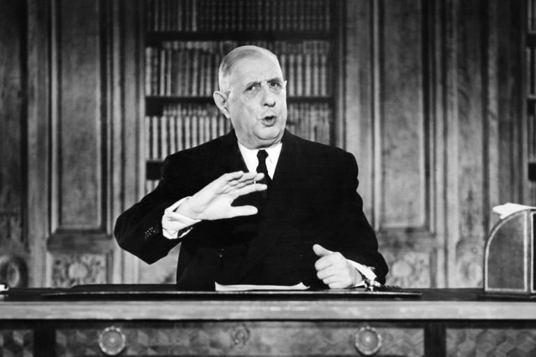 Le général Charles de Gaulle, président de la République, lors d'une allocution télévisée, le 19 mars 1962.