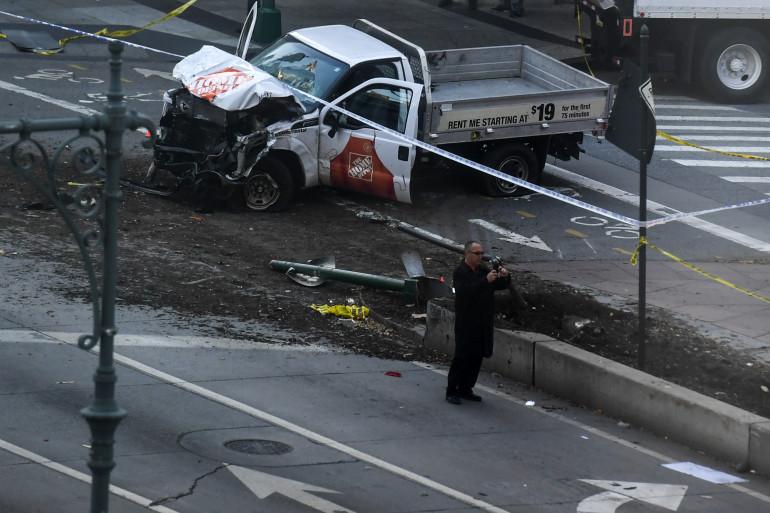 Le camion qui a foncé sur des piétons et des cyclistes à New York mardi 31 octobre.