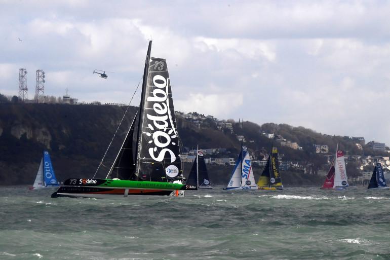 """Jean-Luc Nelias et Thomas Coville étaient au départ de la Transat Jacques Vabre, à bord du trimaran """"Sodebo Ultim"""""""