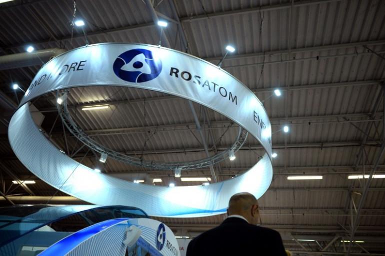 Le stand de l'agence russe d'énergie atomique Rosatom lors du World Nuclear Exhibition au Bourget, près de Paris.