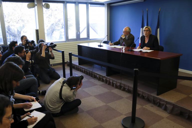 Marine Le Pen et Wallerand de Saint-Just, au siège du Front national à Nanterre, le 22 novembre 2017