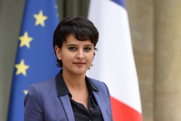 Najat Vallaud-Belkacem quittant l'Élysée en juillet 2016