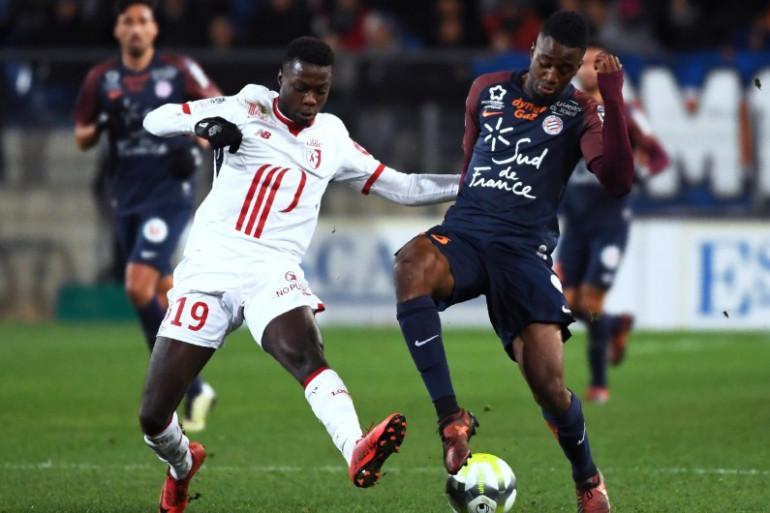 Le Lillois Nicolas Pepe et le Montpelliérain Isaac Mbenza lors de Montpellier-Lille le 25 novembre 2017