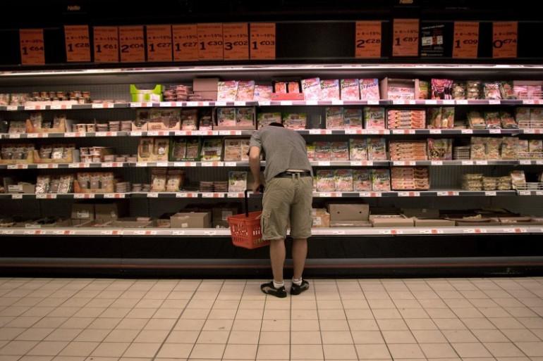 Des produits laitiers dans un supermarché (illustration)