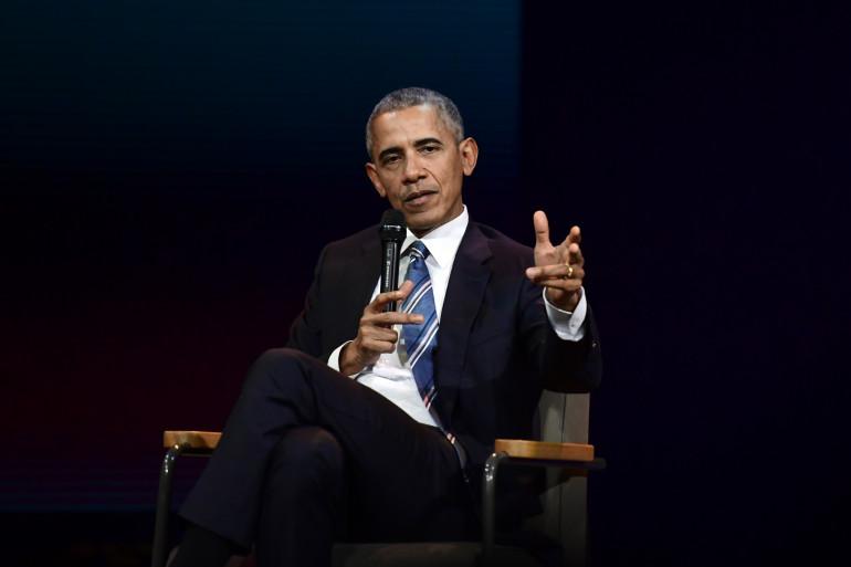 """Barack Obama lors de la conférence des """"Napoleons"""", le 2 décembre 2017"""