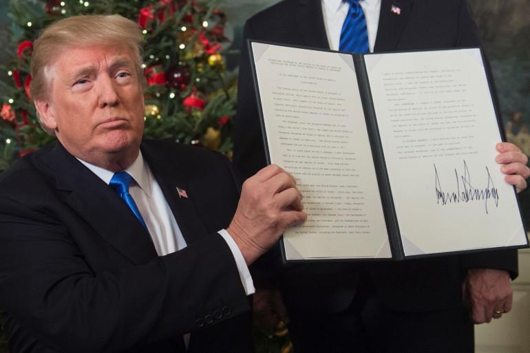"""Donald Trump a reconnu mercredi """"officiellement Jérusalem comme capitale d'Israël"""""""