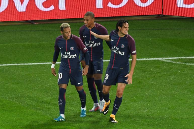 Neymar, Mbappé et Cavani, ici en septembre 2017, sont les trois nommés du PSG