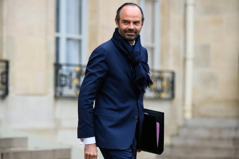 Le Premier ministre Édouard Philippe sortant de l'Élysée le 13 décembre 2017.