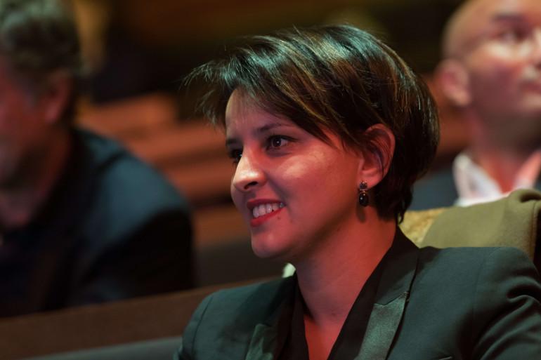 Najat Vallaud-Belkacem, lors du discours de Barack Obama à Paris, le 2 décembre 2017