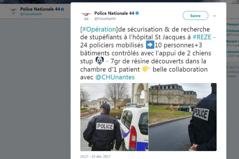 Le tweet fait par le compte @PoliceNat44, le 23 décembre 2017