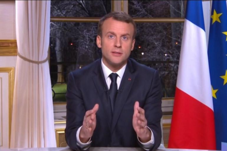 Emmanuel Macron lors de ses vœux du Nouvel An, le 31 décembre 2017