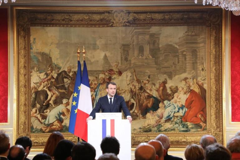 Emmanuel Macron lors de ses voeux à la presse le 3 janvier 2018