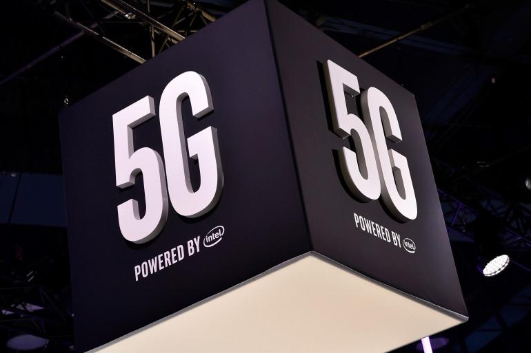 Un panneau 5G pendant le CES de Las Vegas le 9 janvier 2018.