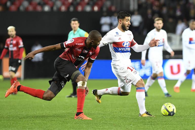 Nabil Fekir avec Lyon face à Guingamp le 17 janvier 2017