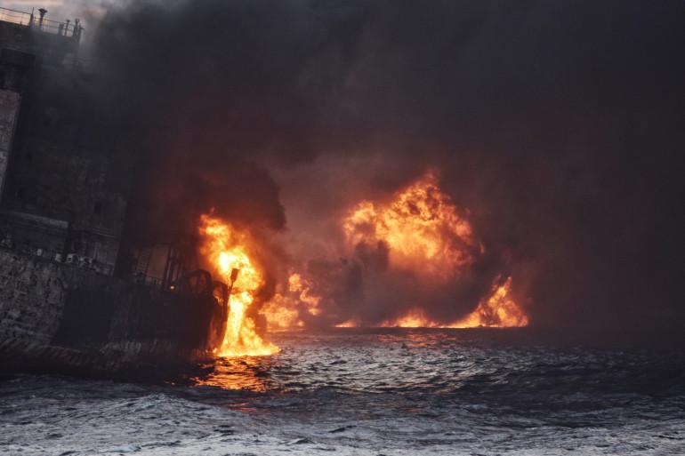La marée noire a été provoquée par le naufrage d'un pétrolier iranien en mer de Chine orientale, le 14 janvier 2018