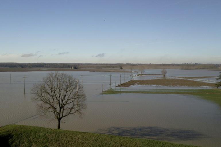 Le Lot en crue à Tonneins (Lot et Garonne) en janvier 2018