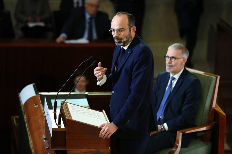 Edouard Philippe prononce son discours où il présente la réforme des retraites, le 11 décembre 2019 à Paris