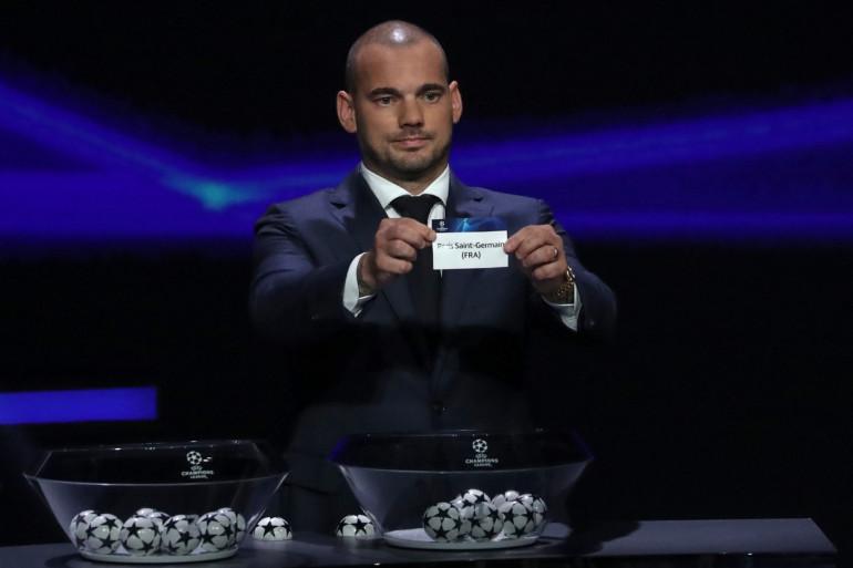 Le Néerlandais Wesley Sneijder à Monaco le 29 août 2019 pour le tirage au sort de la Ligue des champions