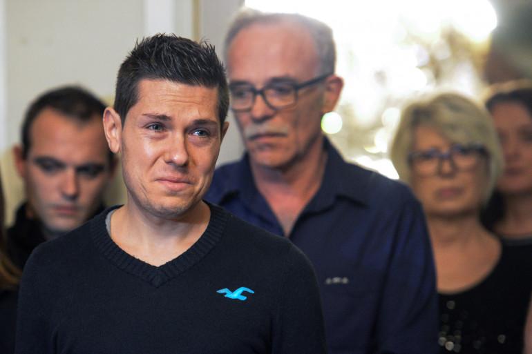 Jonathann, le mari d'Alexia Daval, lors d'une conférence de presse en novembre 2017