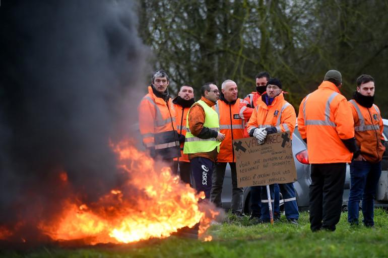 Des ouvriers d'Ascoval, le 31 janvier 2018