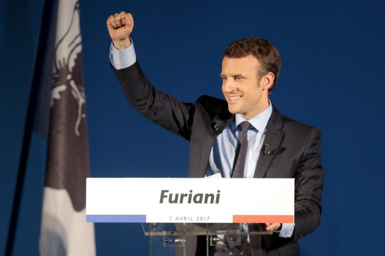 Emmanuel Macron à Furiani, en avril 2017.