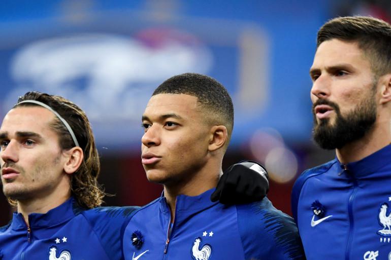 Antoine Griezmann, Kylian Mbappé et Olivier Giroud au Stade de France le 14 novembre 2019