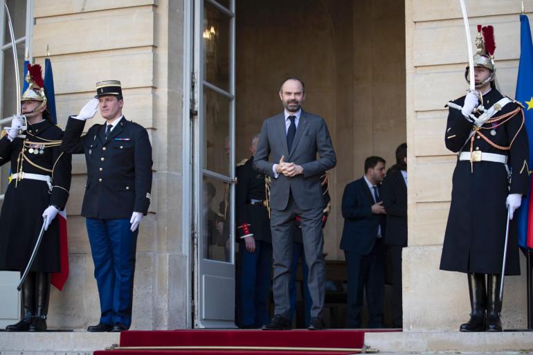 Édouard Philippe sur le perron de Matignon, le 14 février 2019
