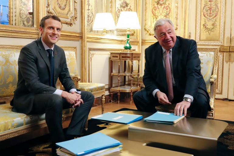 Emmanuel Macron et Gérard Larcher à l'Élysée, le 20 novembre 2017