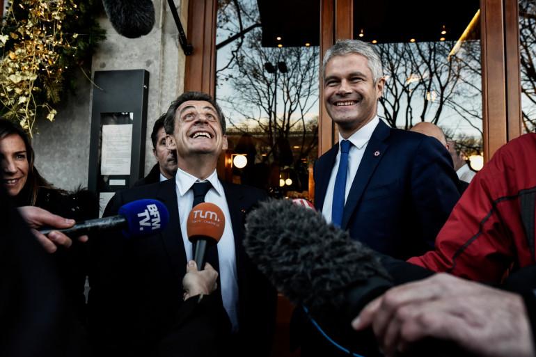 Nicolas Sarkozy et Laurent Wauquiez le 8 décembre 2017 à Lyon
